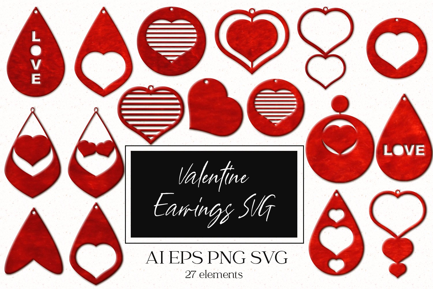 Valentine Earrings SVG example image 1