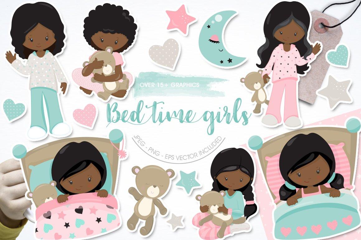 African American Kids bedtime graphics - vectors example image 1