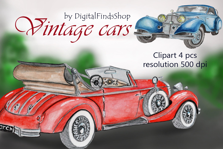 Download Vintage Car Clipart Sublimation Watercolor Clipart Retro 355458 Illustrations Design Bundles