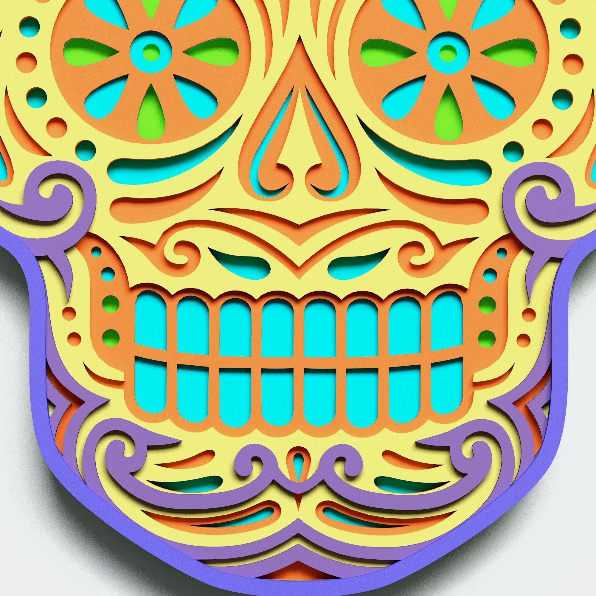 Multilayer Sugar Skull Mandala - S2, for cutting machines example image 4