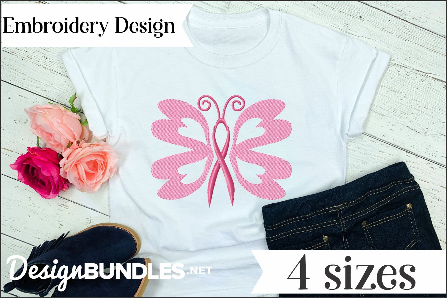Butterfly Awareness Ribbon Embroidery Design example image 1