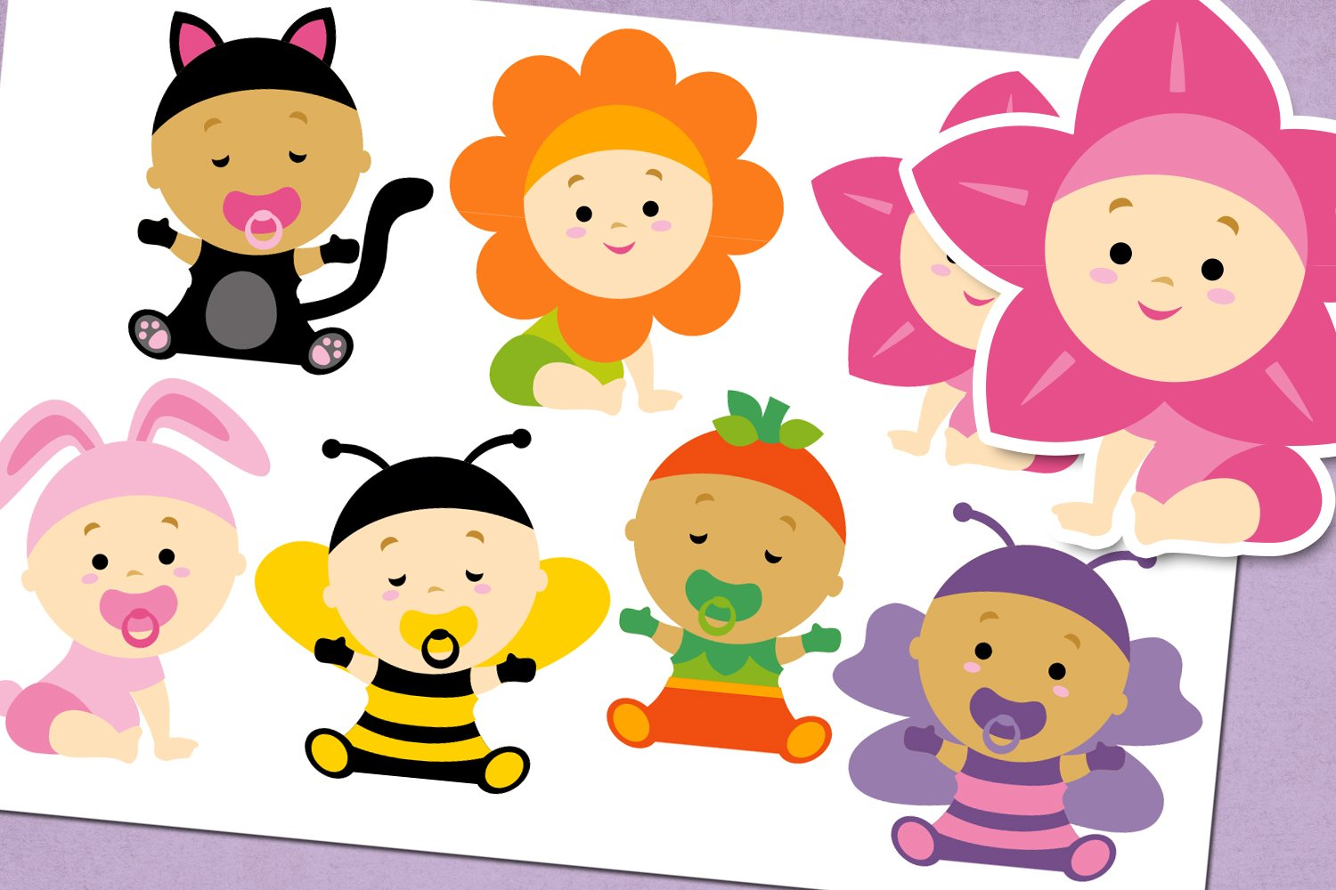 Baby girl in costume illustrations example image 1