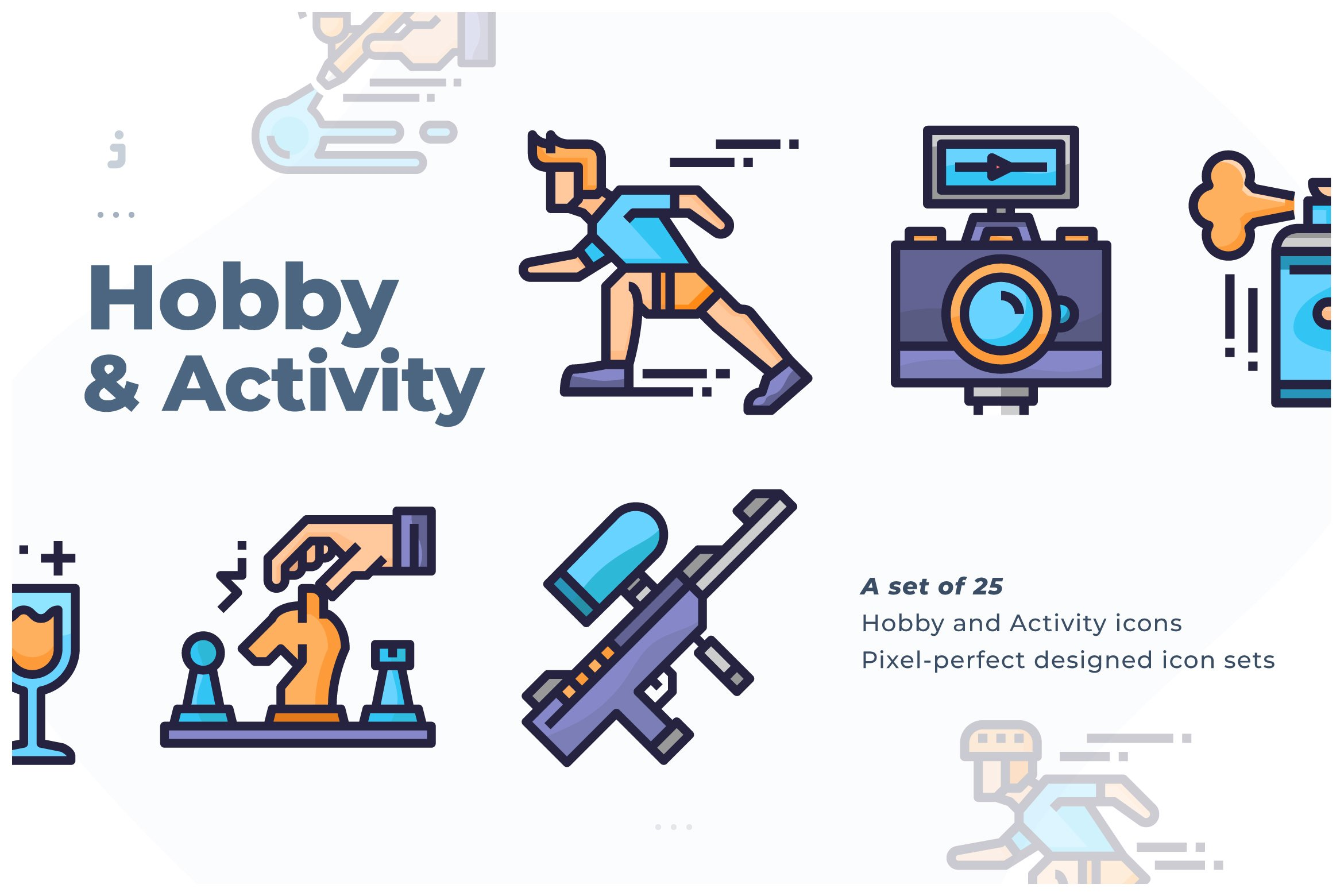 25 hobby and activity icon 216293 icons design bundles 25 hobby and activity icon