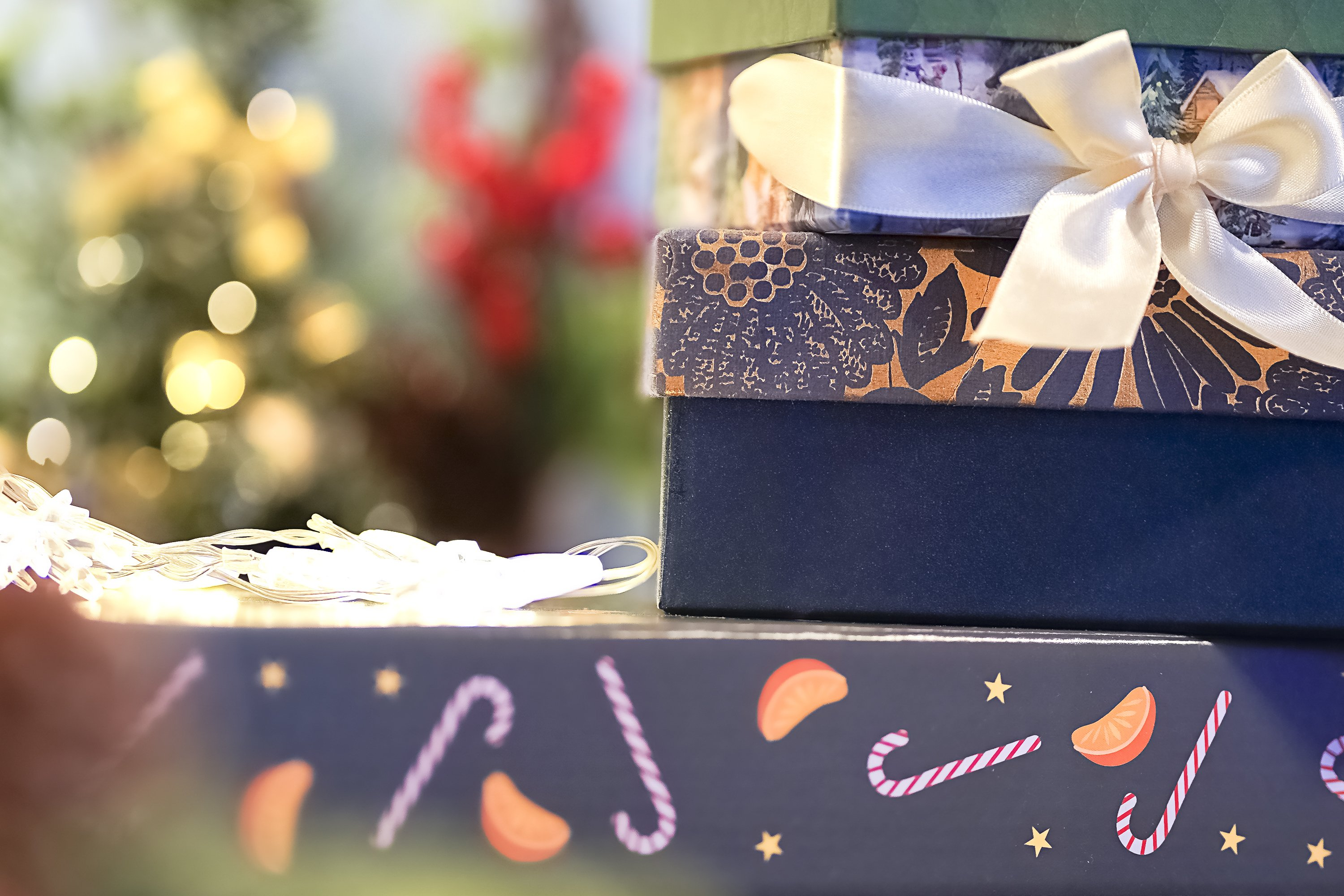 Atmosphere of Christmas,different gift boxes on blue example image 1