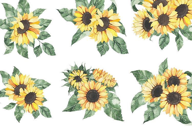 Watercolor Sunflowers collection example image 8