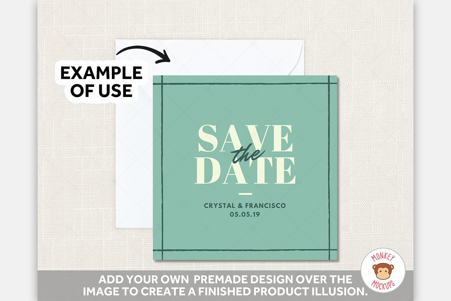 White Square Card Mockup Envelope - JPG PNG PSD Smart Object example image 3