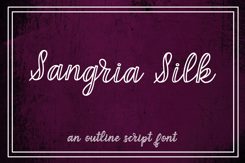 Sangria Silk - an outline script font example image 1