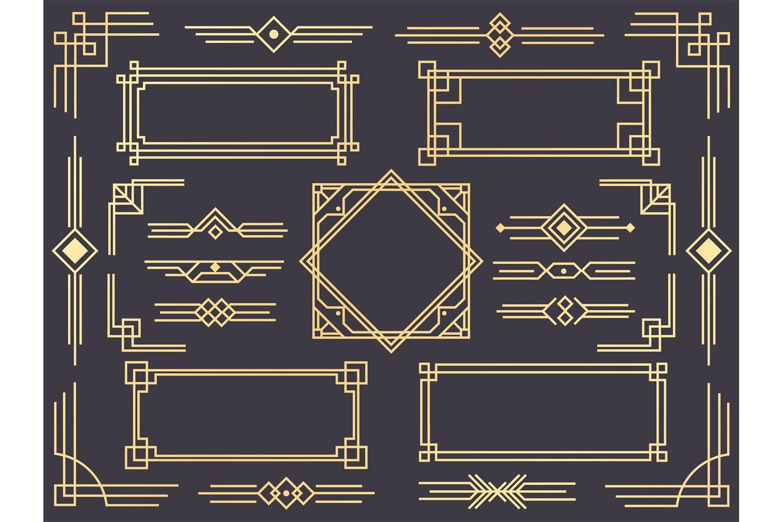 Download Art Deco Line Border Modern Arabic Gold Frames Decorative 979528 Decorations Design Bundles