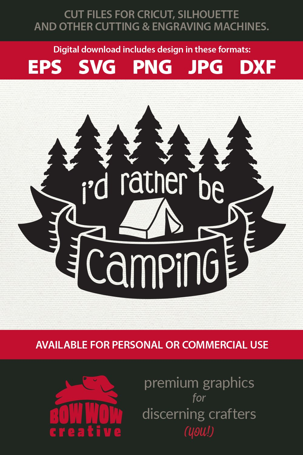 I'd Rather Be Camping - Camping Quote Cutting File & Clipart example image 2