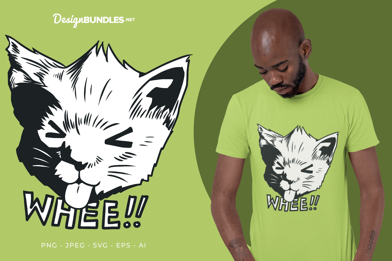 Mocking Face Cat Vector Illustration For T-Shirt Design example image 1