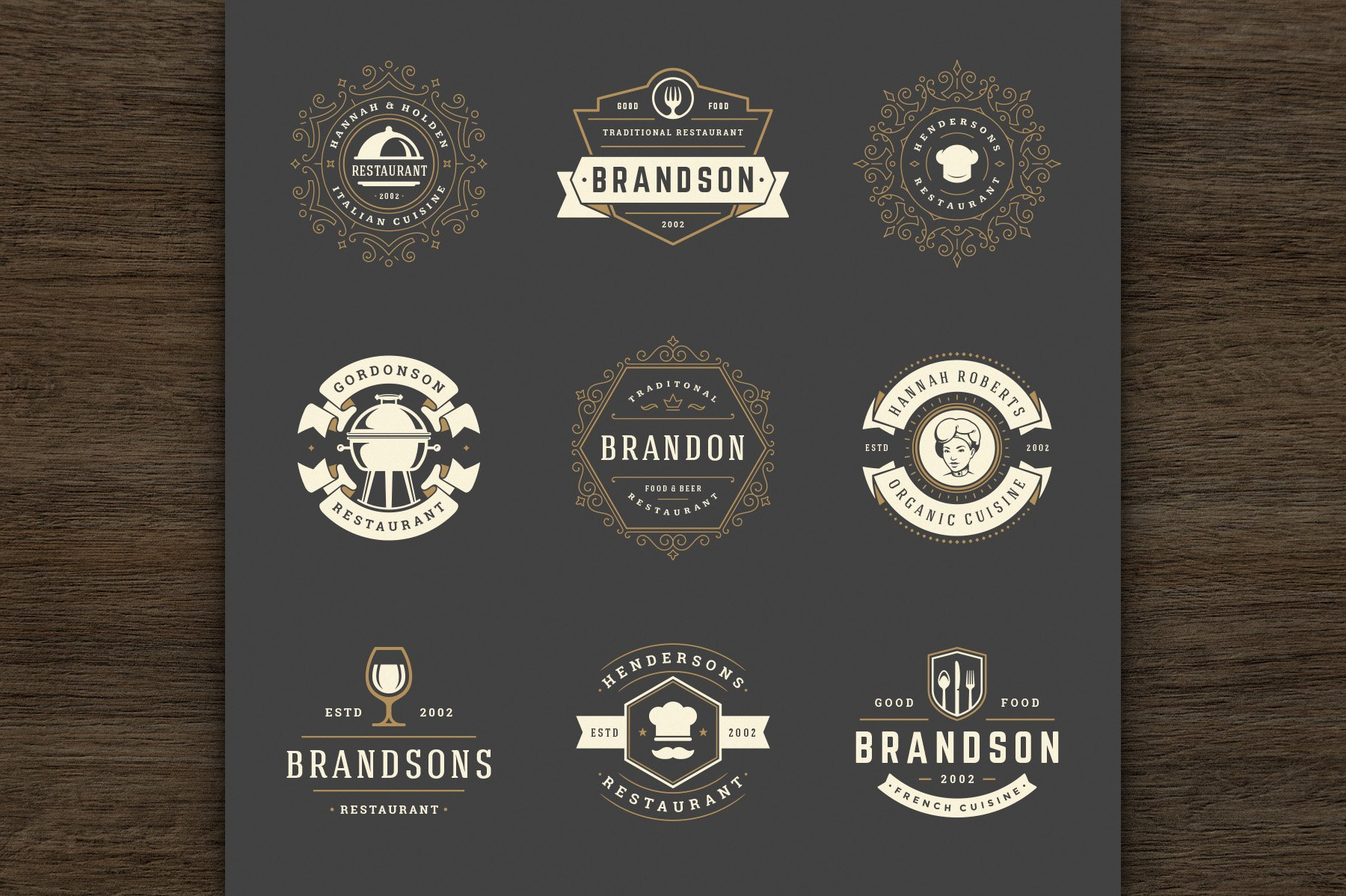 36 Restaurant Logos and Badges example image 6