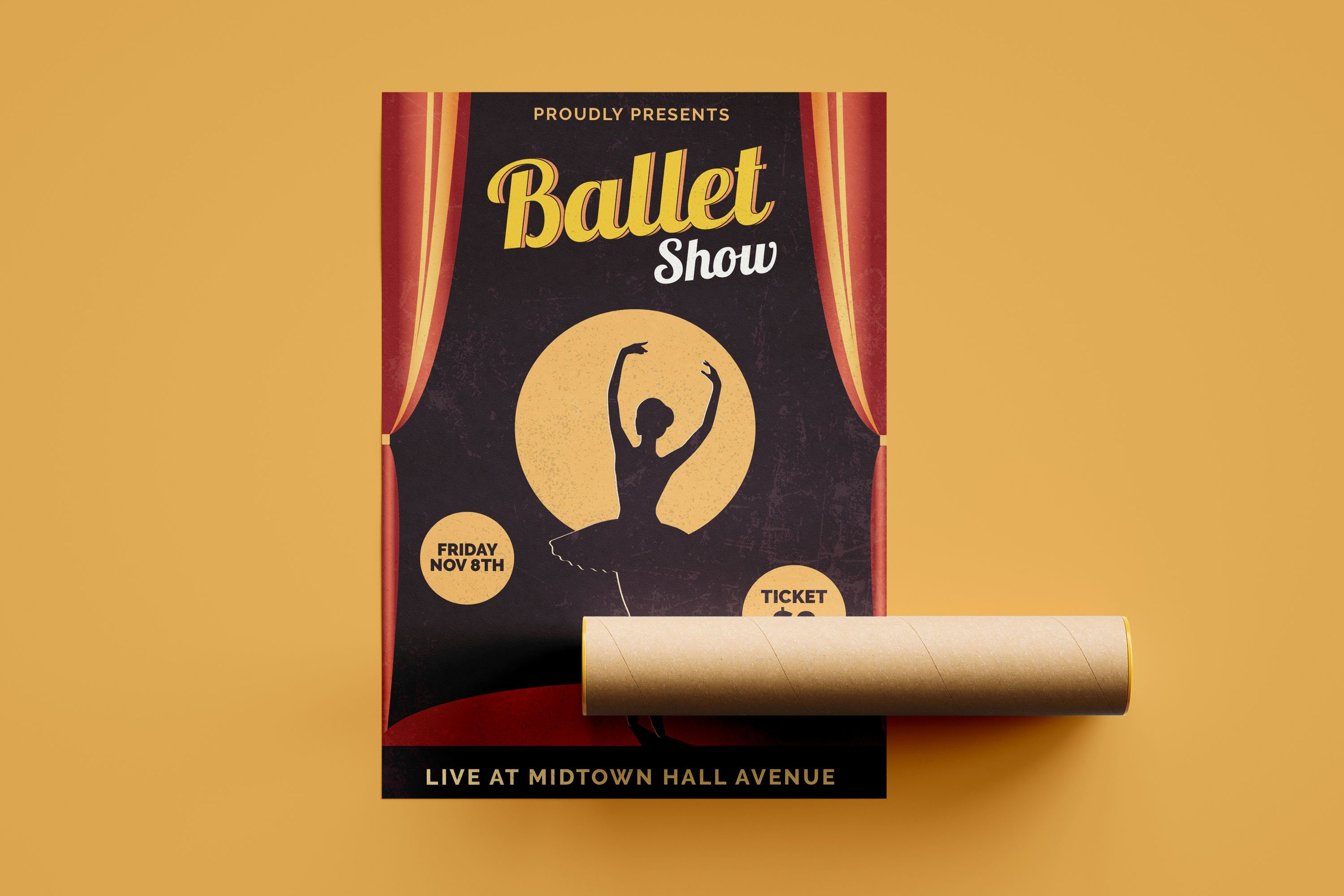 Retro Ballet Show - Flyer Poster example image 2