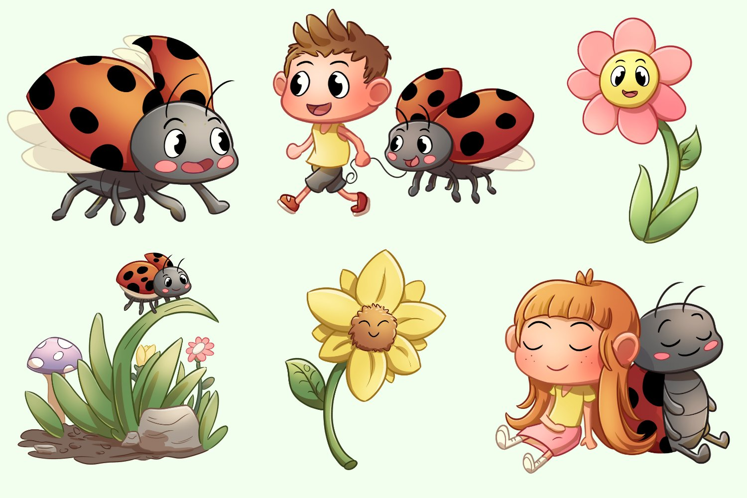 Lady Bug Friends Cute Illustrations example image 2