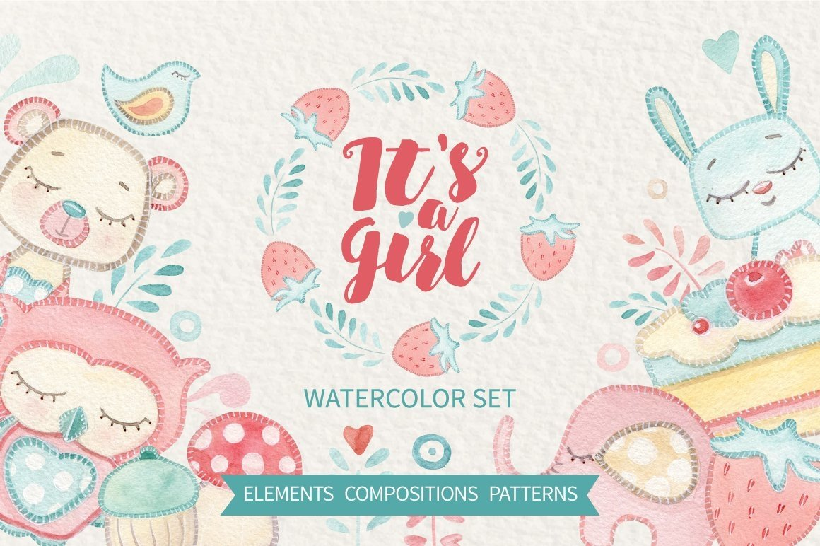 IT'S A GIRL watercolor set example image 1