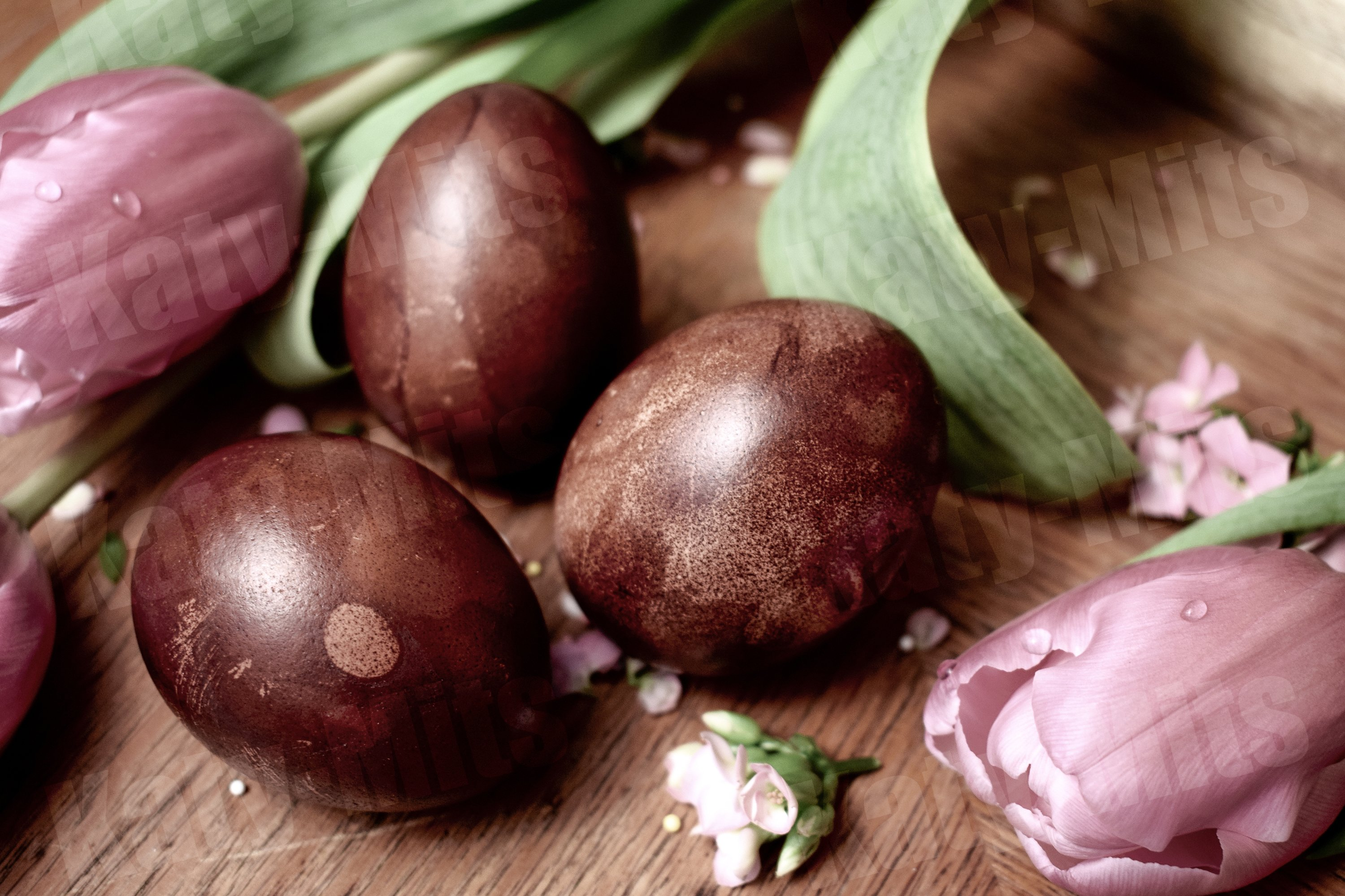 3 Easter eggs on a wooden table in retro style example image 1