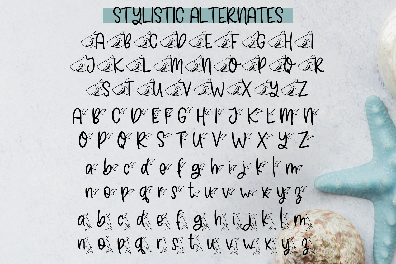 Shark Bite - A Shark font plus nautical doodles example image 3