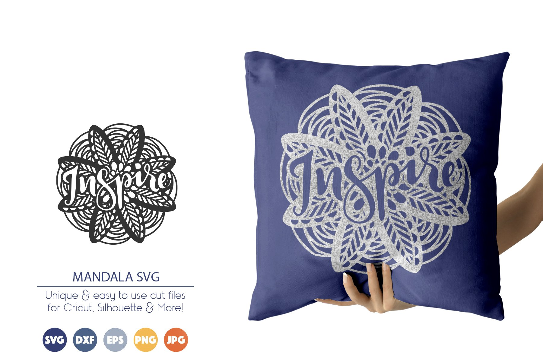 Inspire SVG | Mandala SVG Cut Files example image 1