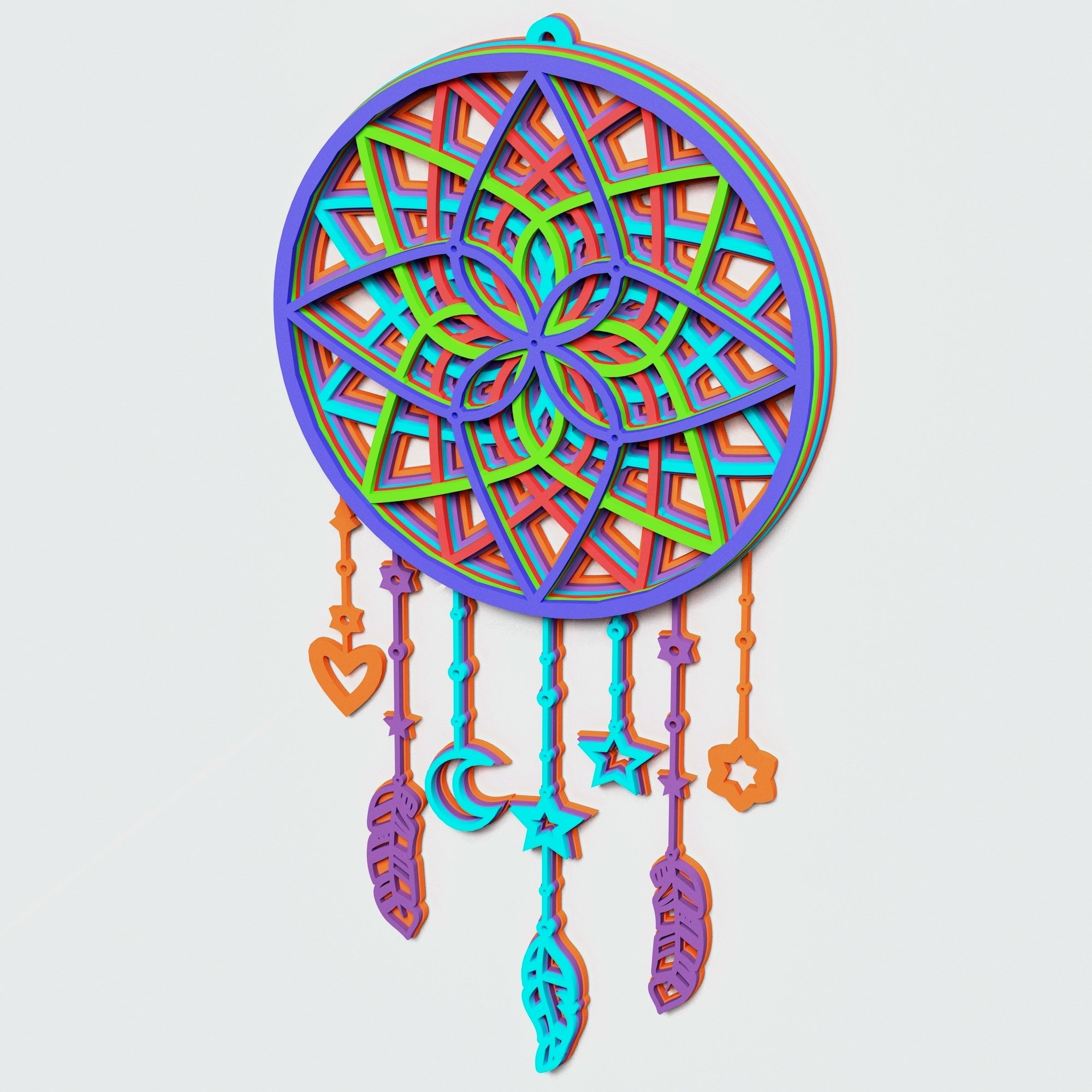 Dream Catcher Multilayer Mandala, Vector file for cutting example image 6