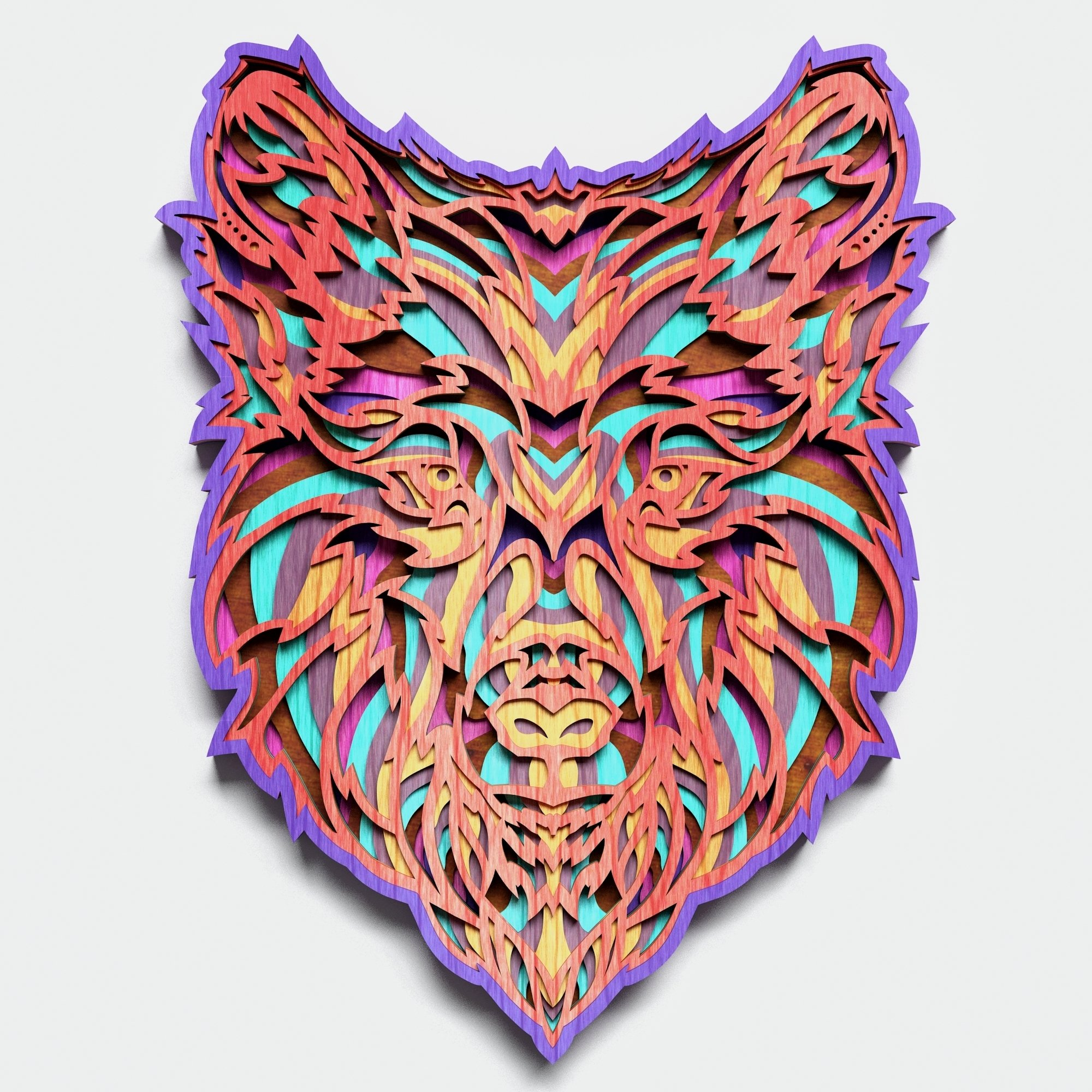 Multilayer Wolf Mandala, Vector file for cutting example image 3