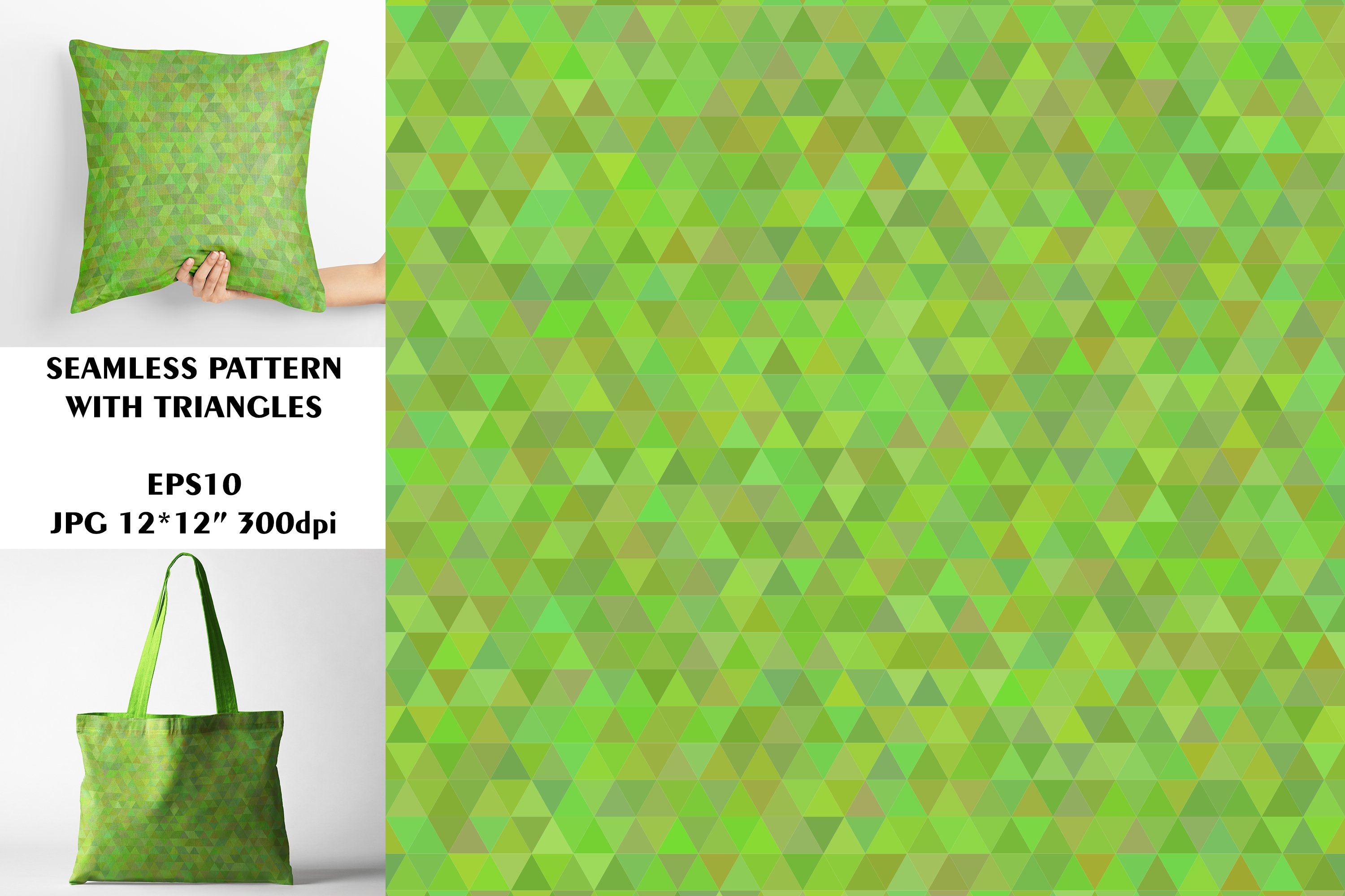 Seamless Pattern with Green Triangles. Digital Paper. example image 1