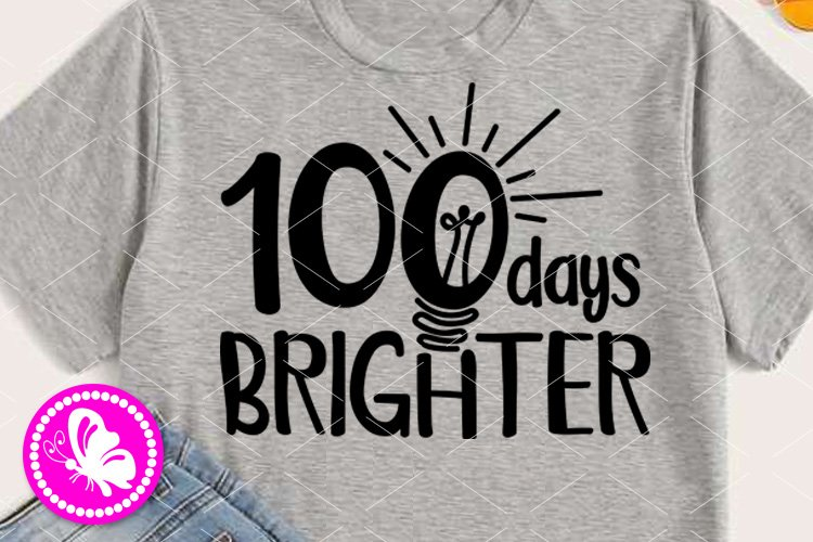 Download 100 Day Brighter Svg School Shirt Light Bulb Clipart Hundred 433389 Cut Files Design Bundles