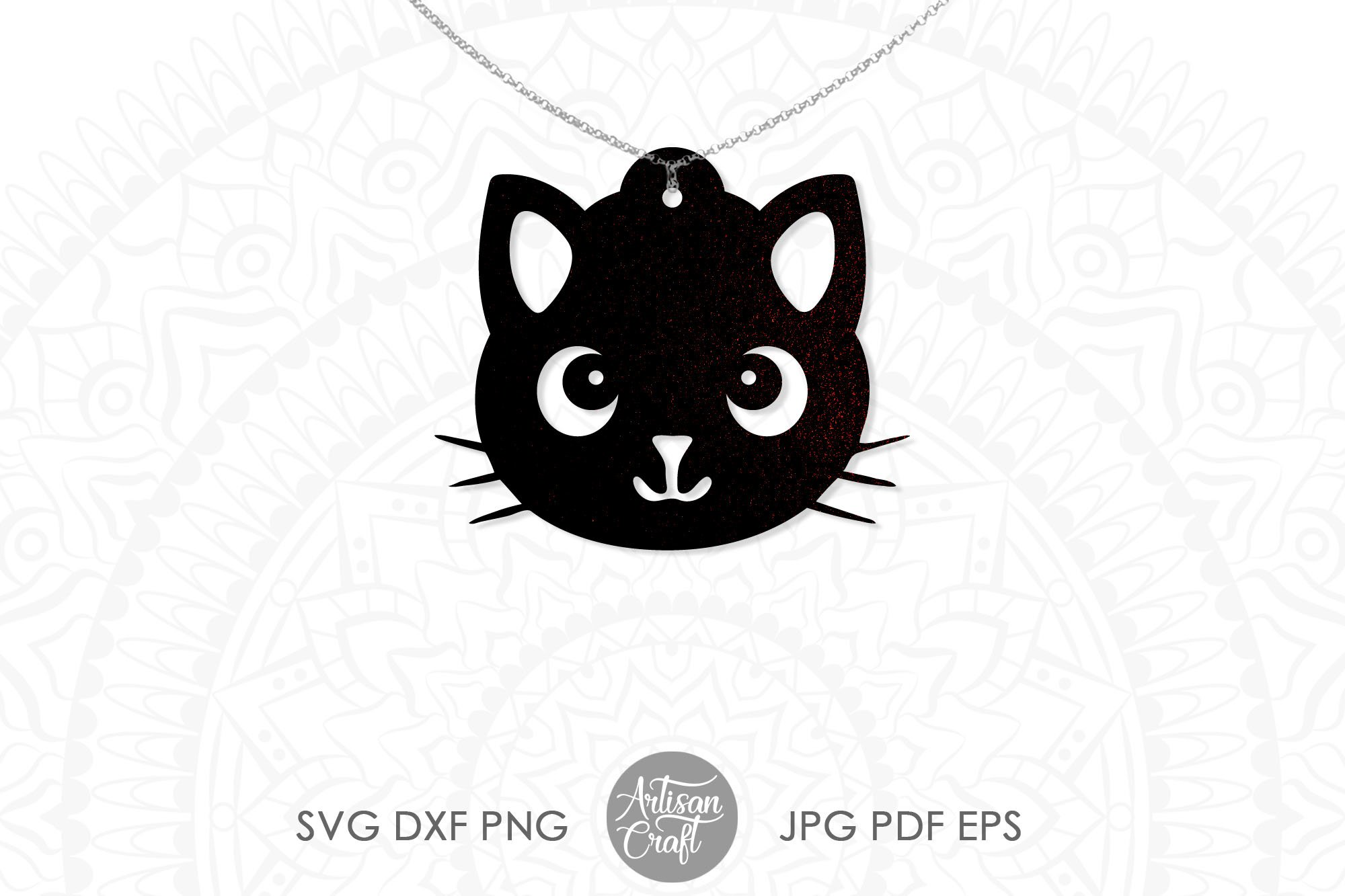 Cat earrings, svg, earrings for kids, cute cat earrings example image 2