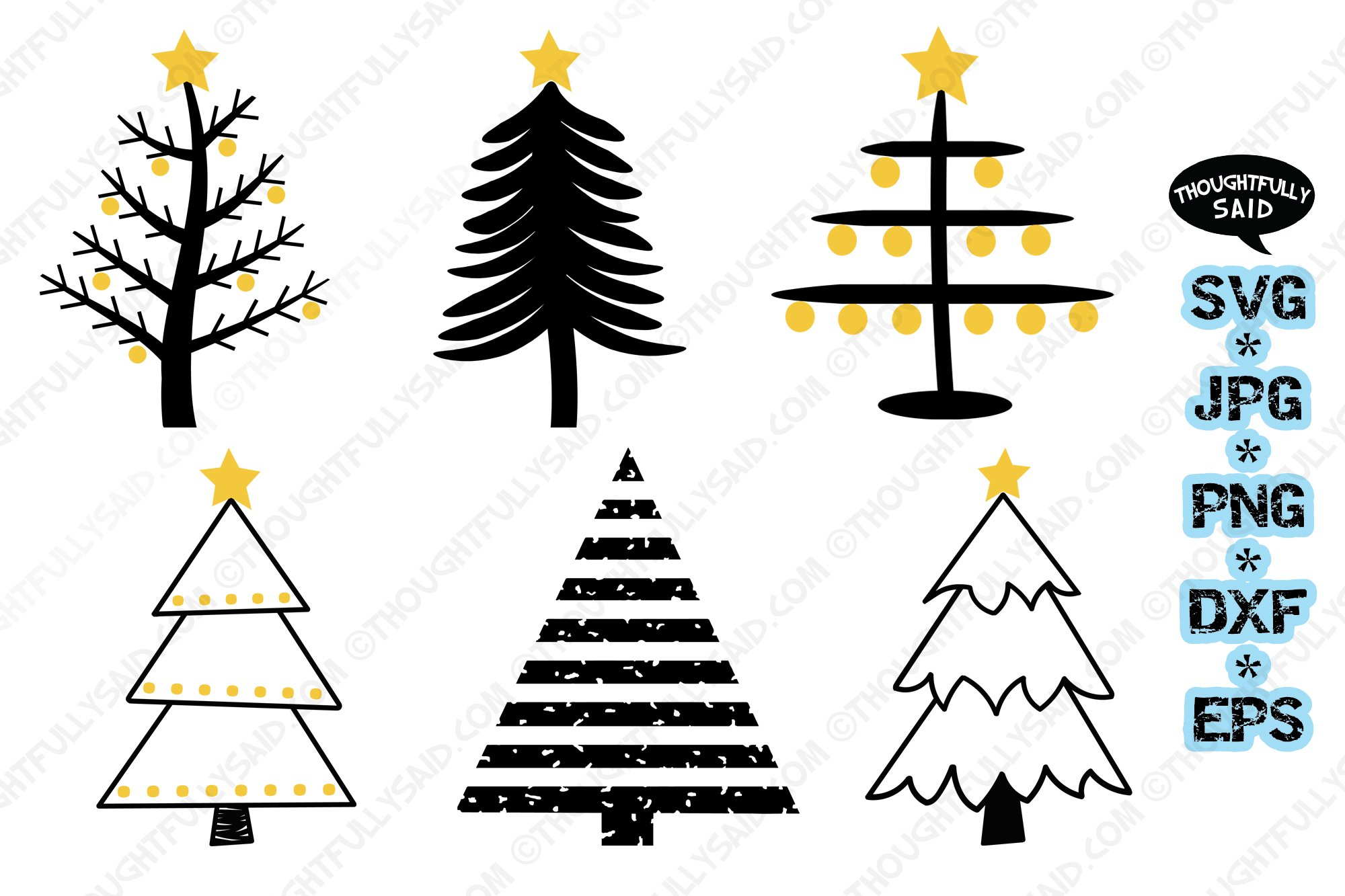 Primitive trees 4 pack SVG cut file JPG PNG DXF EPS designs example image 1