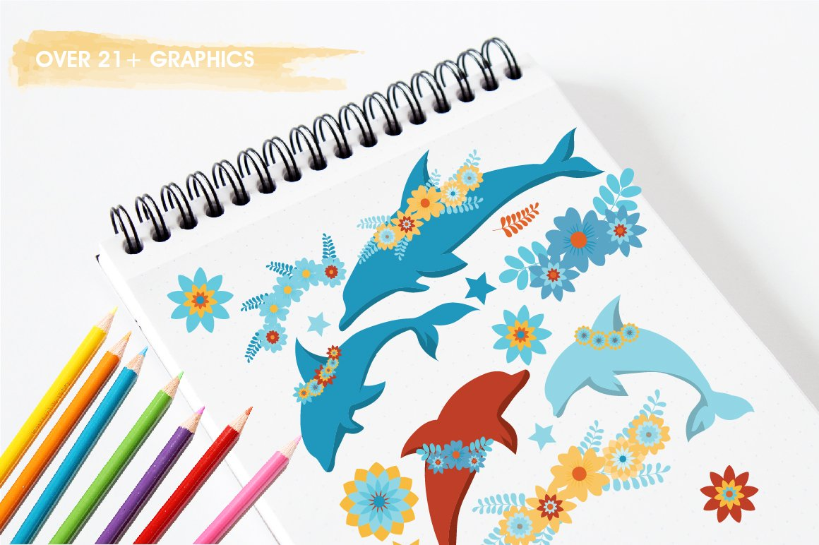Floral Dolphins graphics and illustrations example image 3