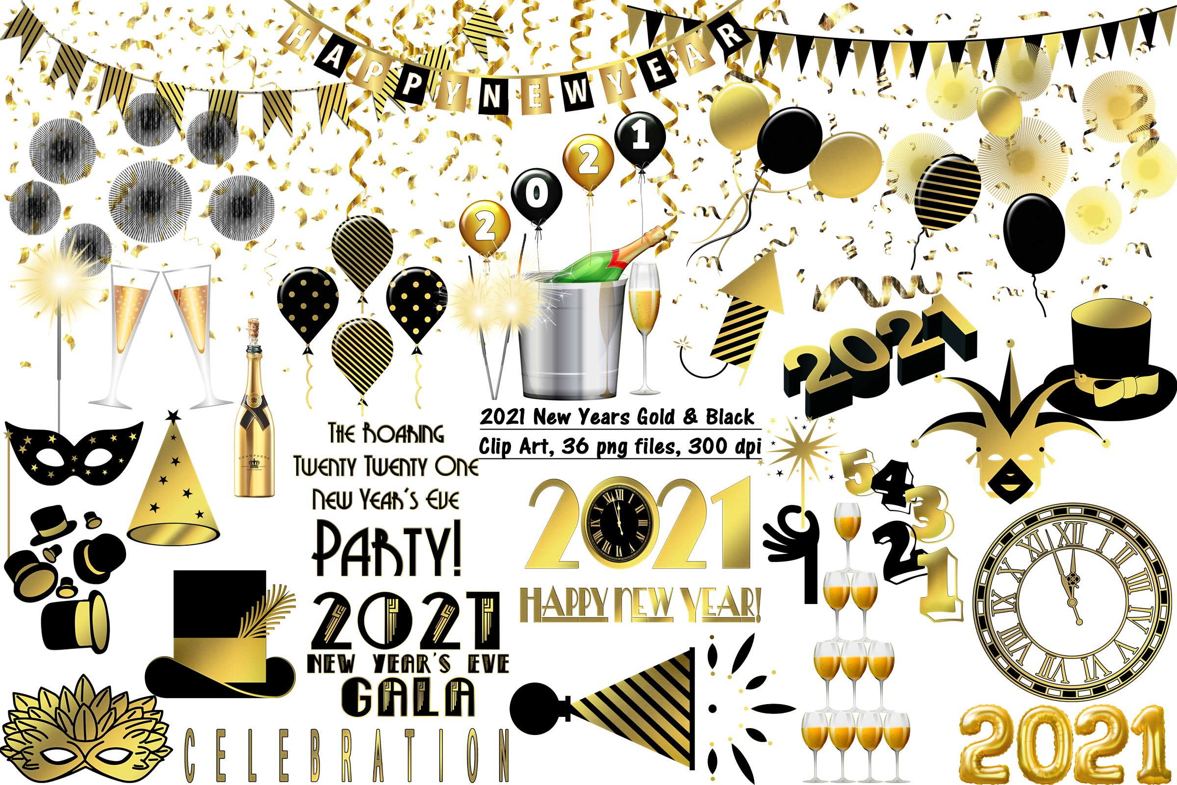 new year 2021 black and gold clip art 389032 illustrations design bundles new year 2021 black and gold clip art