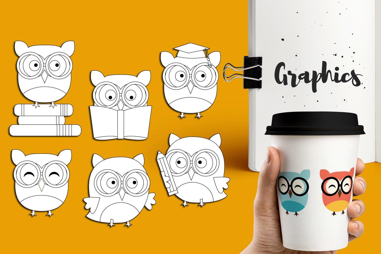 Panda Giraffe Owl clip art illustrations bundle example image 4