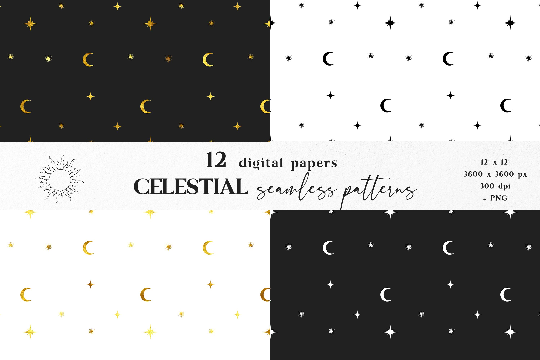 Moon digital paper, Celestial seamless pattern example image 2
