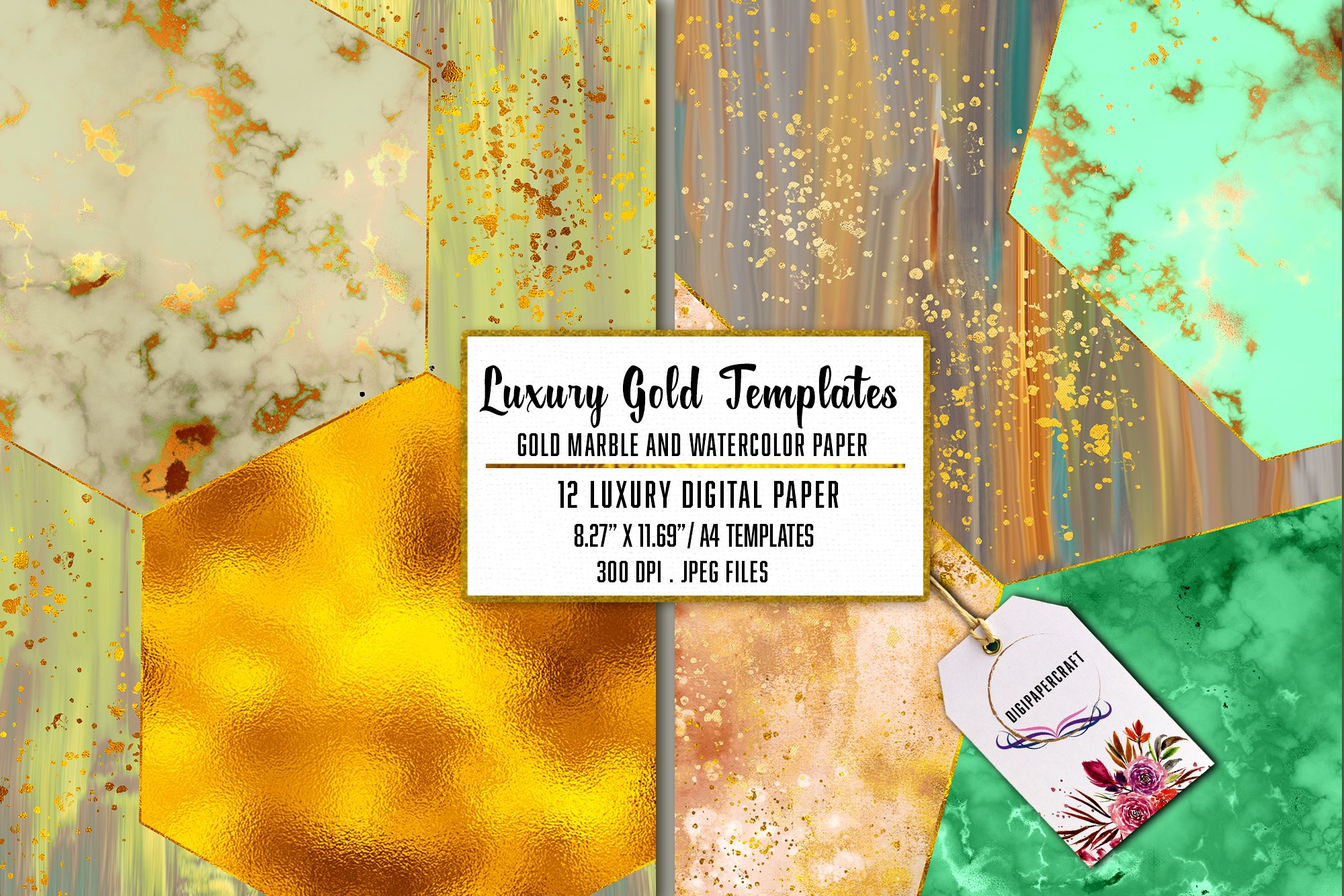 Gold Marble & watercolor geometric templates, Abstract Paper example image 4