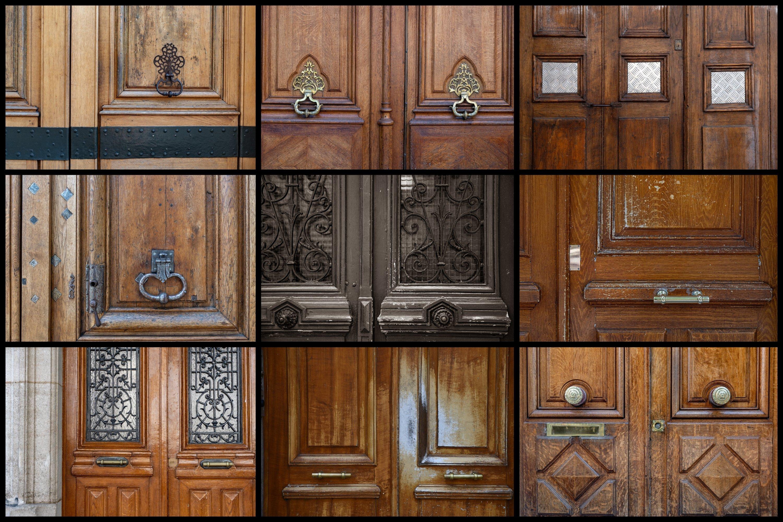 Paris door wall art set of 24 photos. Vintage wooden doors example image 2