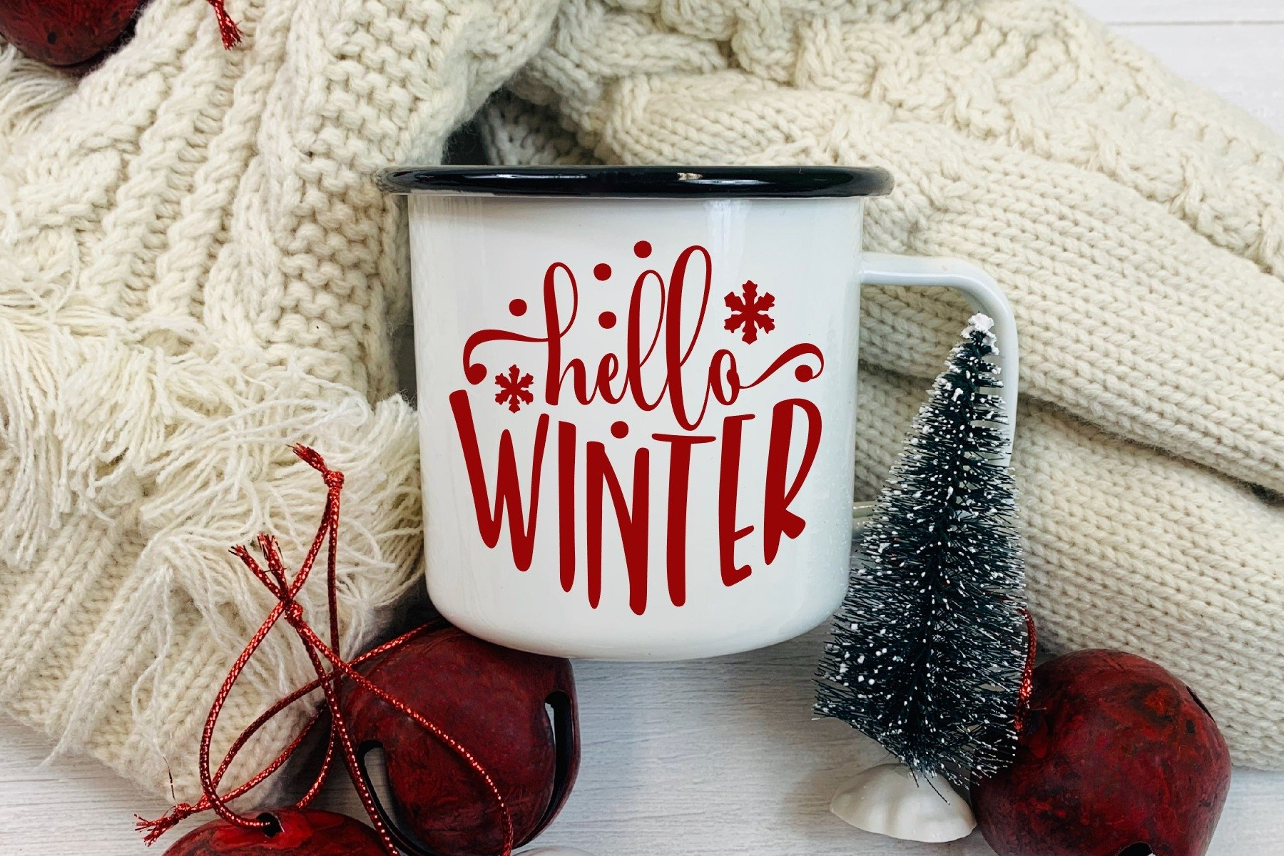 Hello Winter SVG DXF PNG example image 1