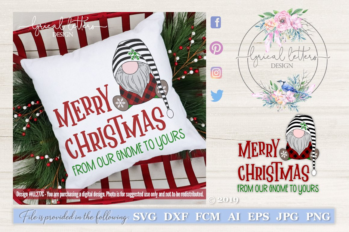 Merry Christmas from Our Gnome SVG Cut File LL277C
