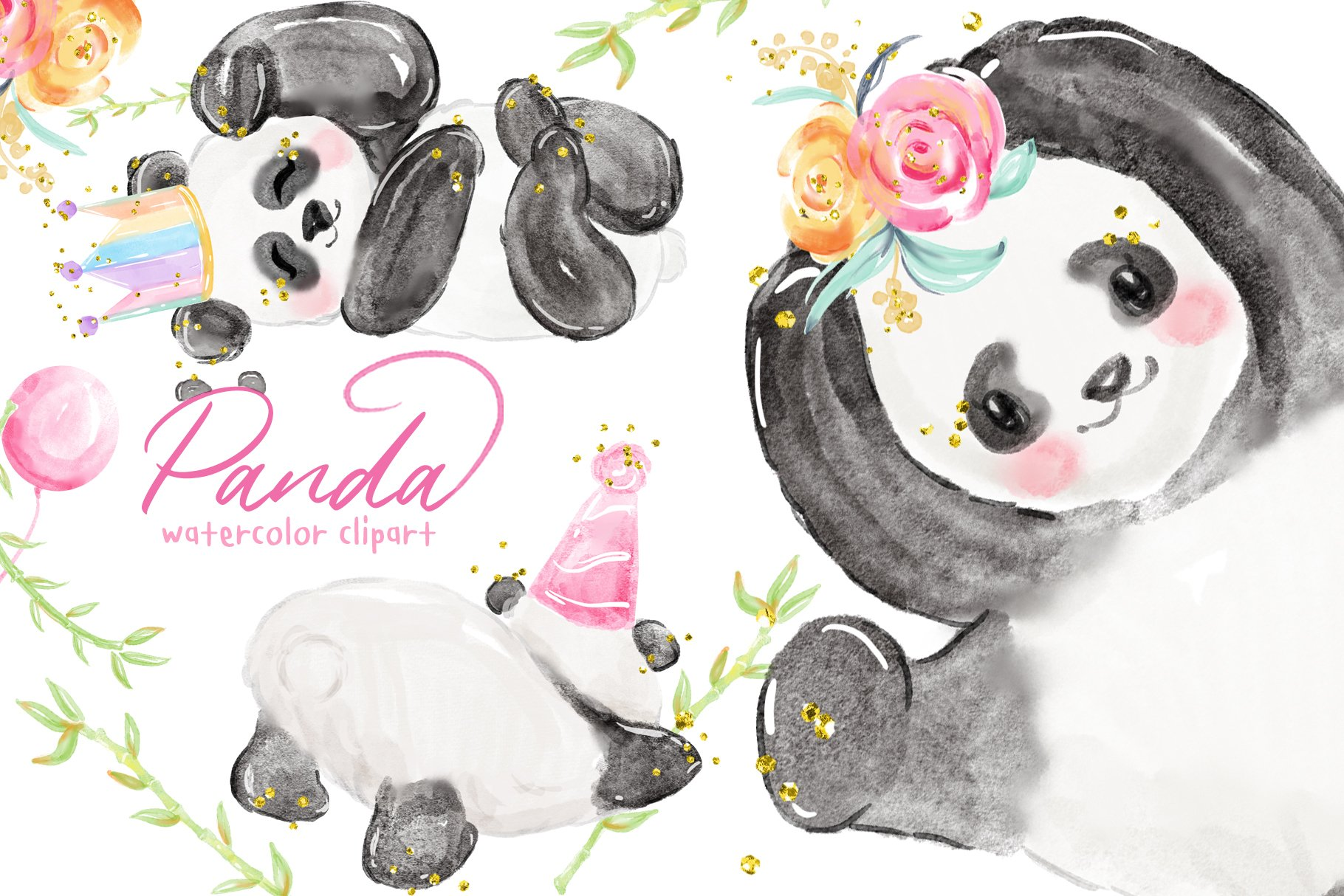 Panda love is in the air illustration watercolor 10 x 15