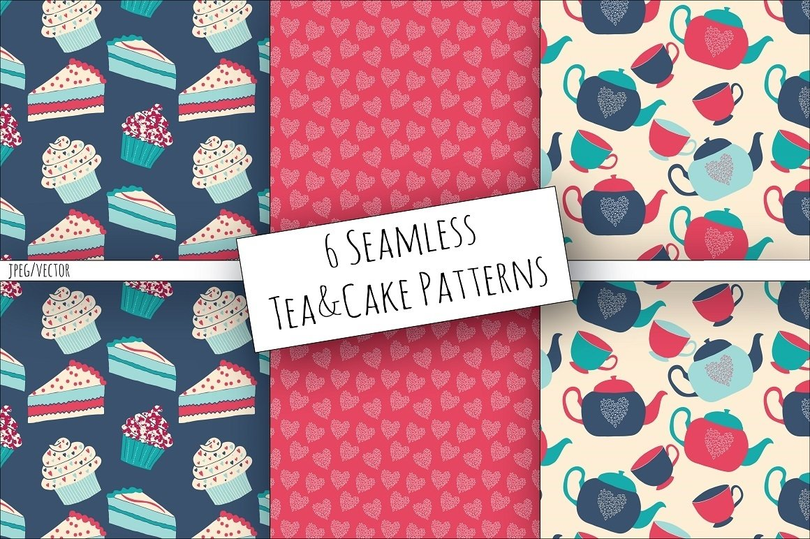 Tea & Cake Clipart and Seamless Pattern Collection - Tea Party Digital example image 2