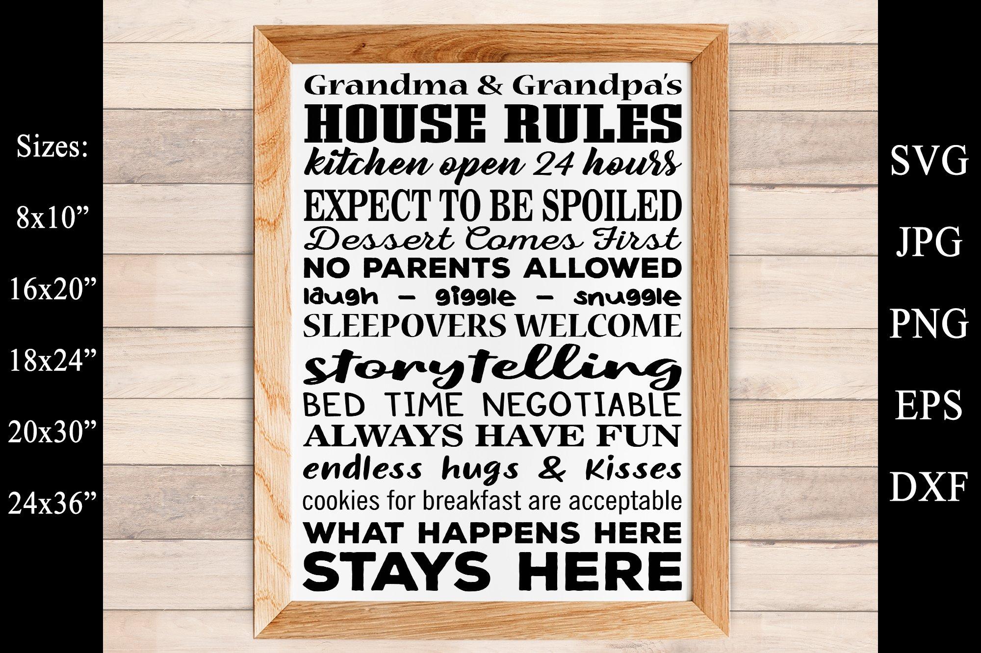 Grandma And Grandpas House Rules Camp Rules Svg Grandparents 419761 Svgs Design Bundles