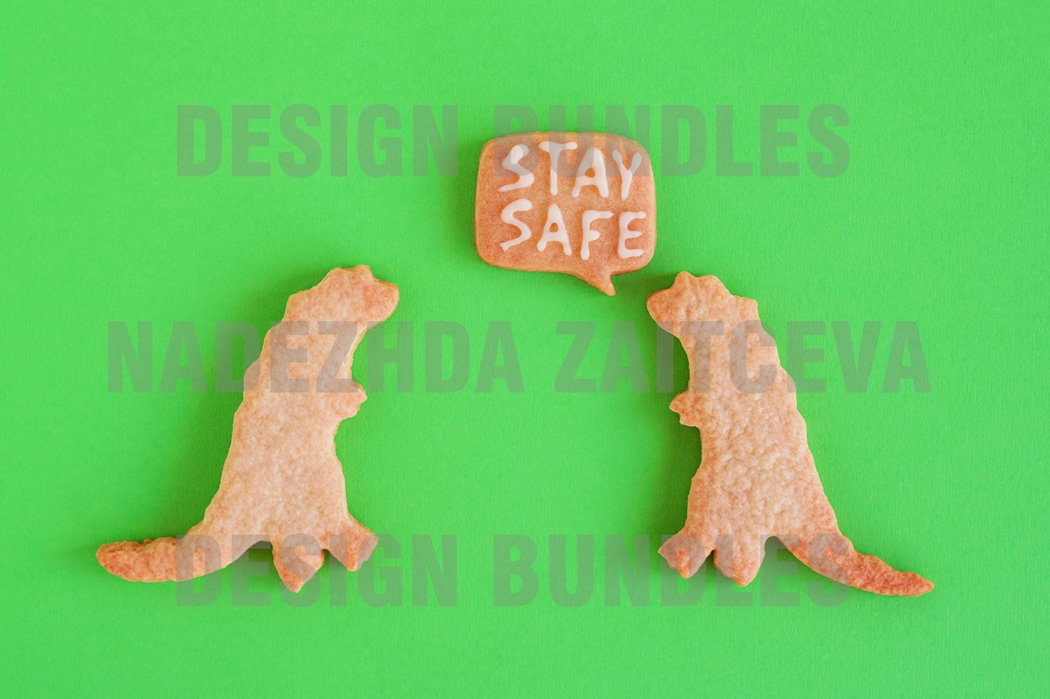 Homemade cookies on green background. example image 1