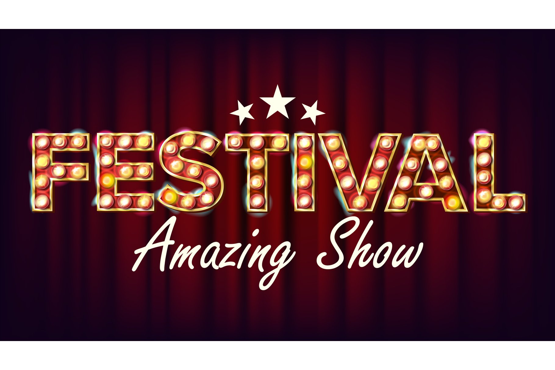 Festival Amazing Show Banner Sign Vector. For Brochure example image 1
