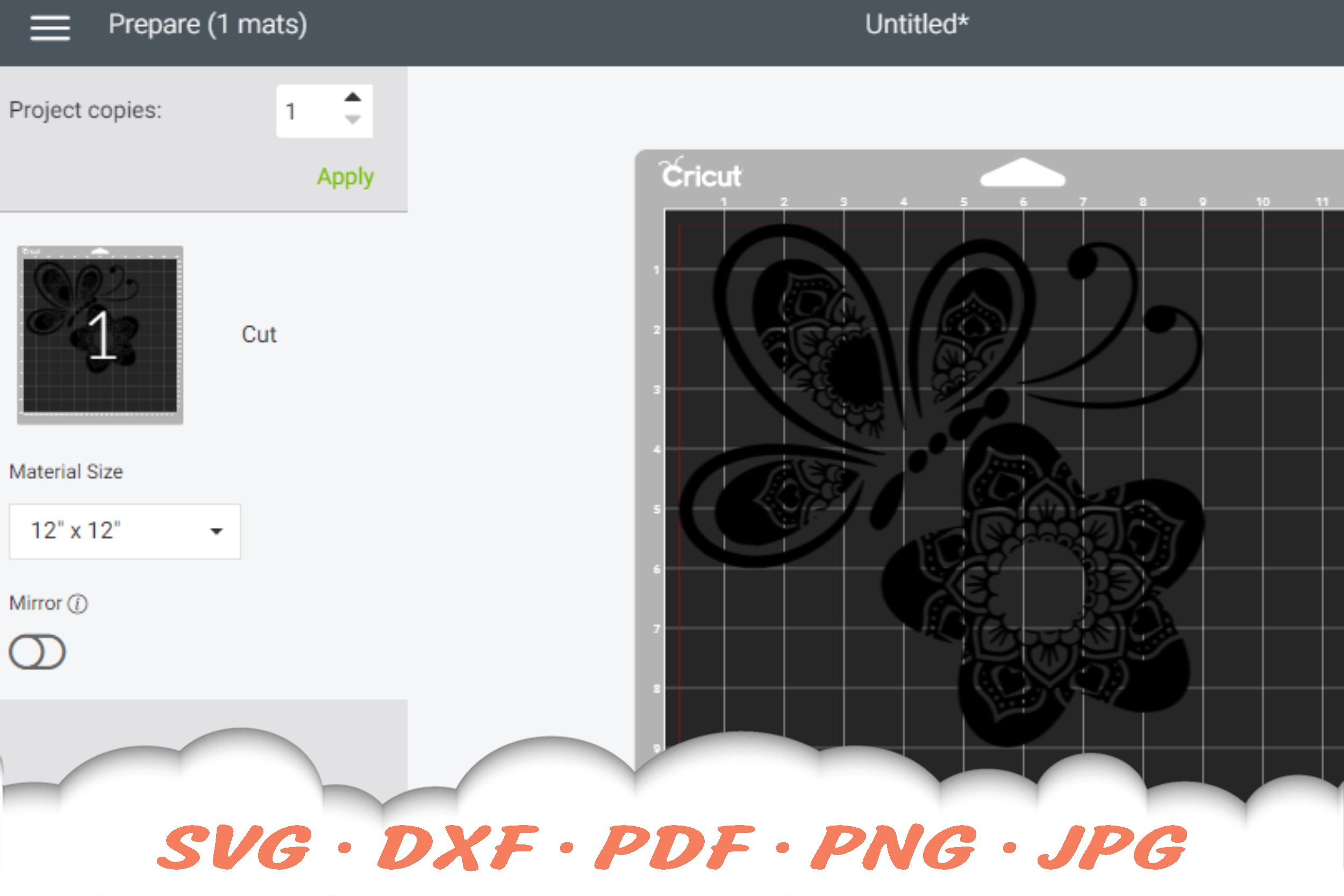 Floral Butterfly Mandala SVG DXF Cut Files Bundle example image 2