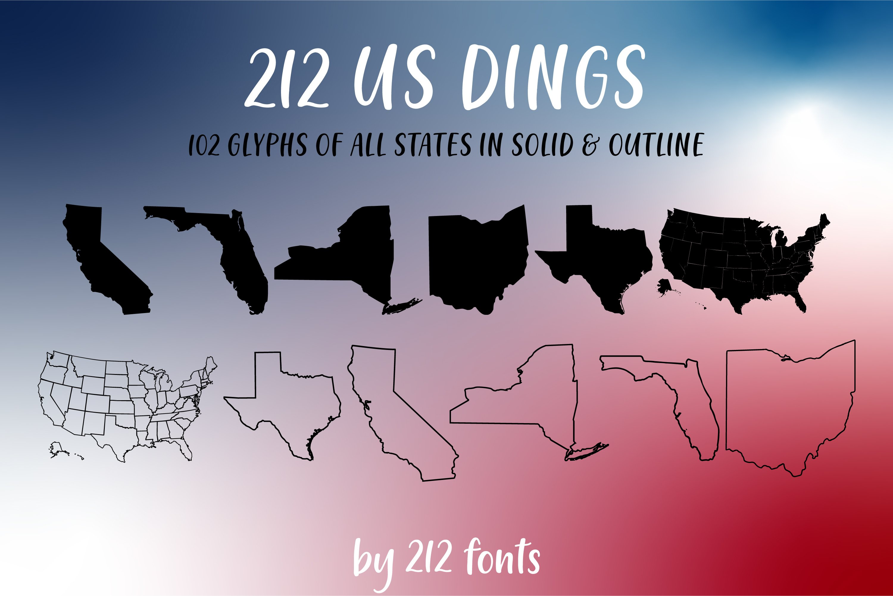 212 US Dings United States Dingbat Solid and Outline Font example image 1