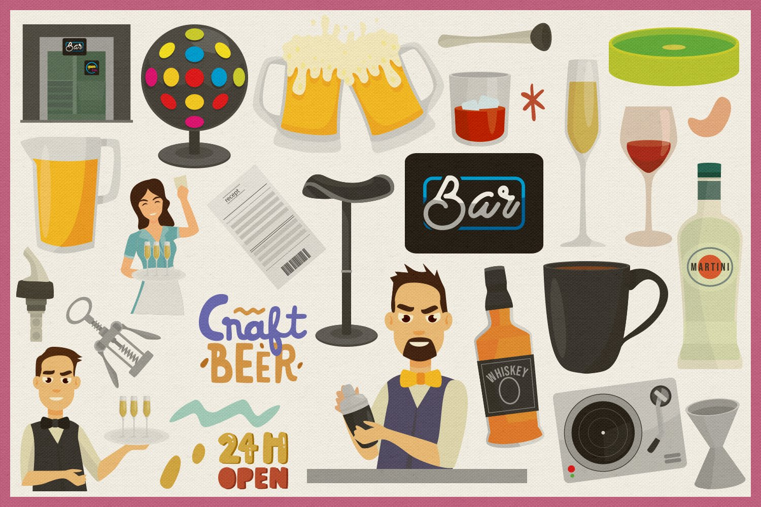 Night Bar Vector Clipart and Seamless Pattern example image 4