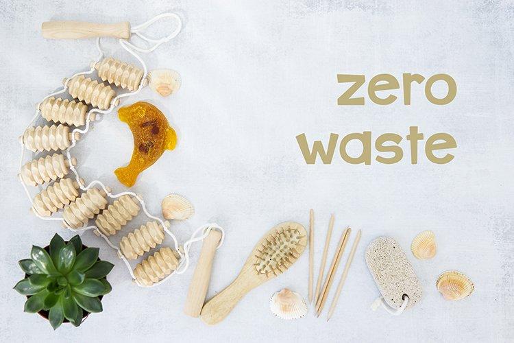Zero waste set for bathing on a light concrete background. example image 1