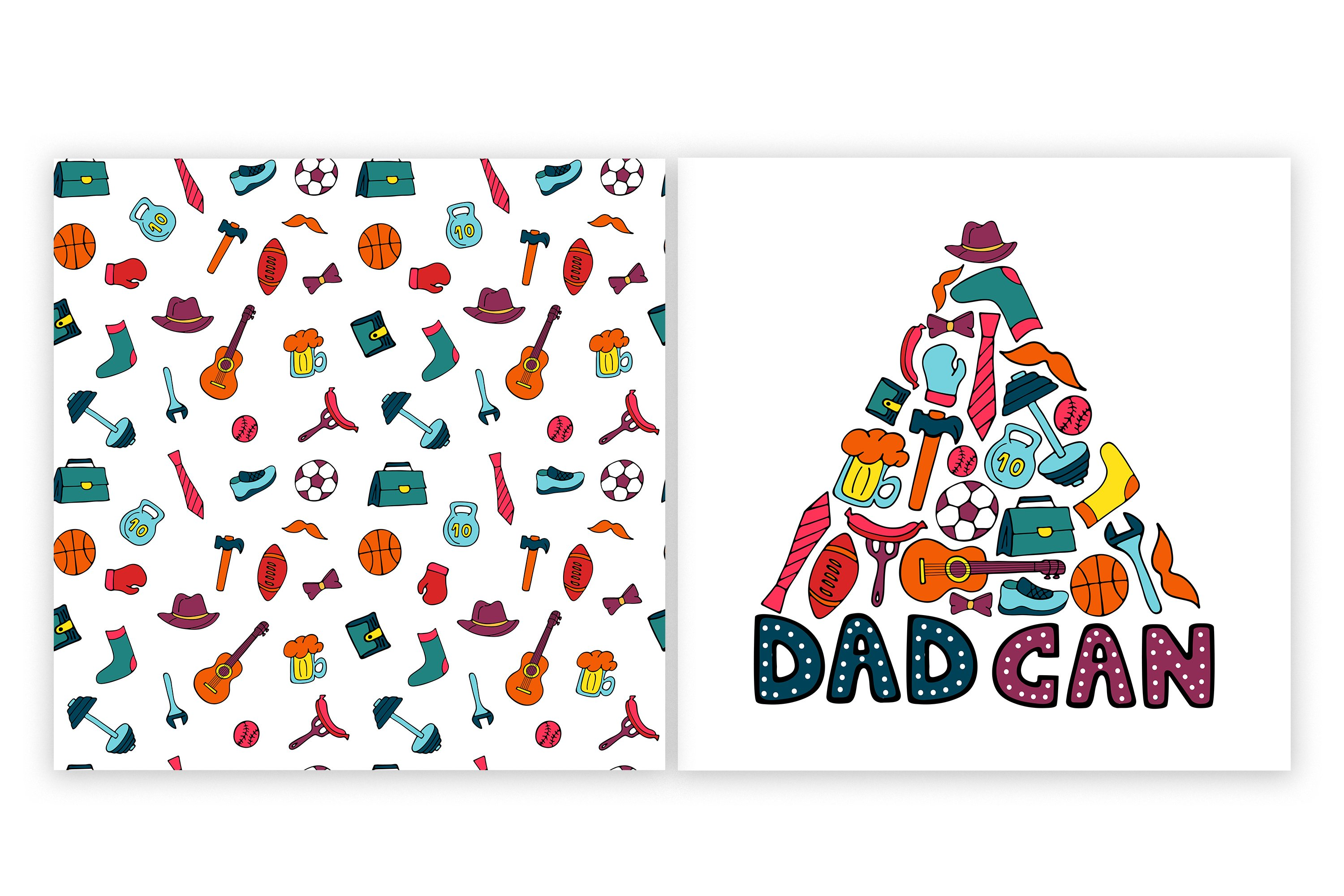 Happy Father's Day. Greeting cards and seamless pattern example image 3