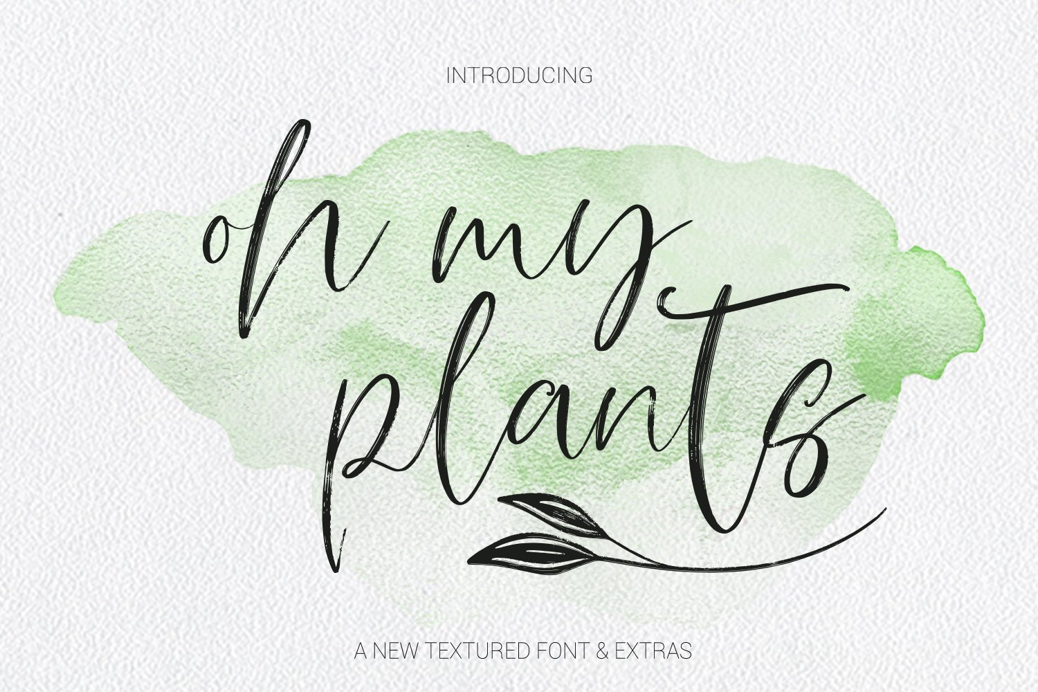 Oh My Plants Textured Font & Doodles example image 1