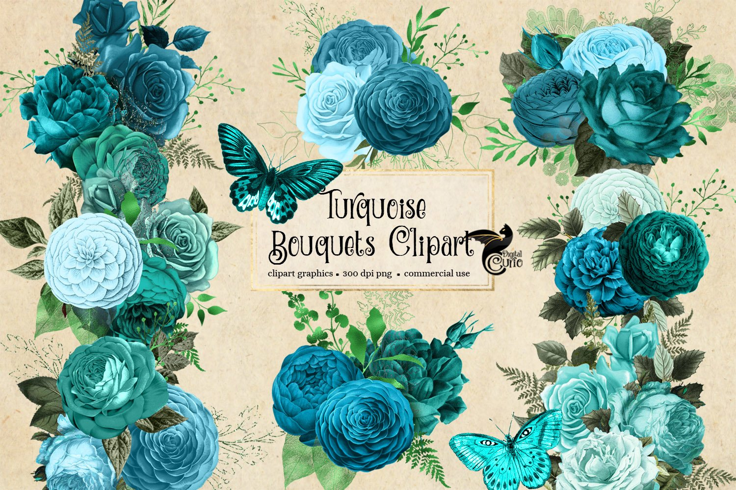 Turquoise Bouquets Clipart example image 4
