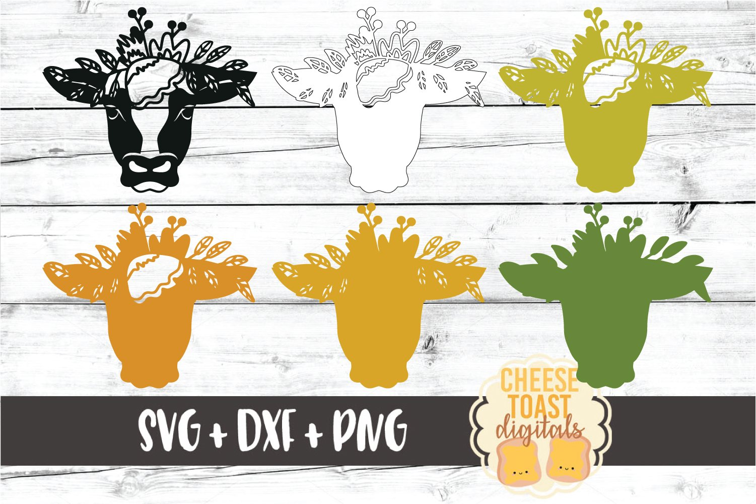 3D SVG | Cow with Floral Crown example image 3