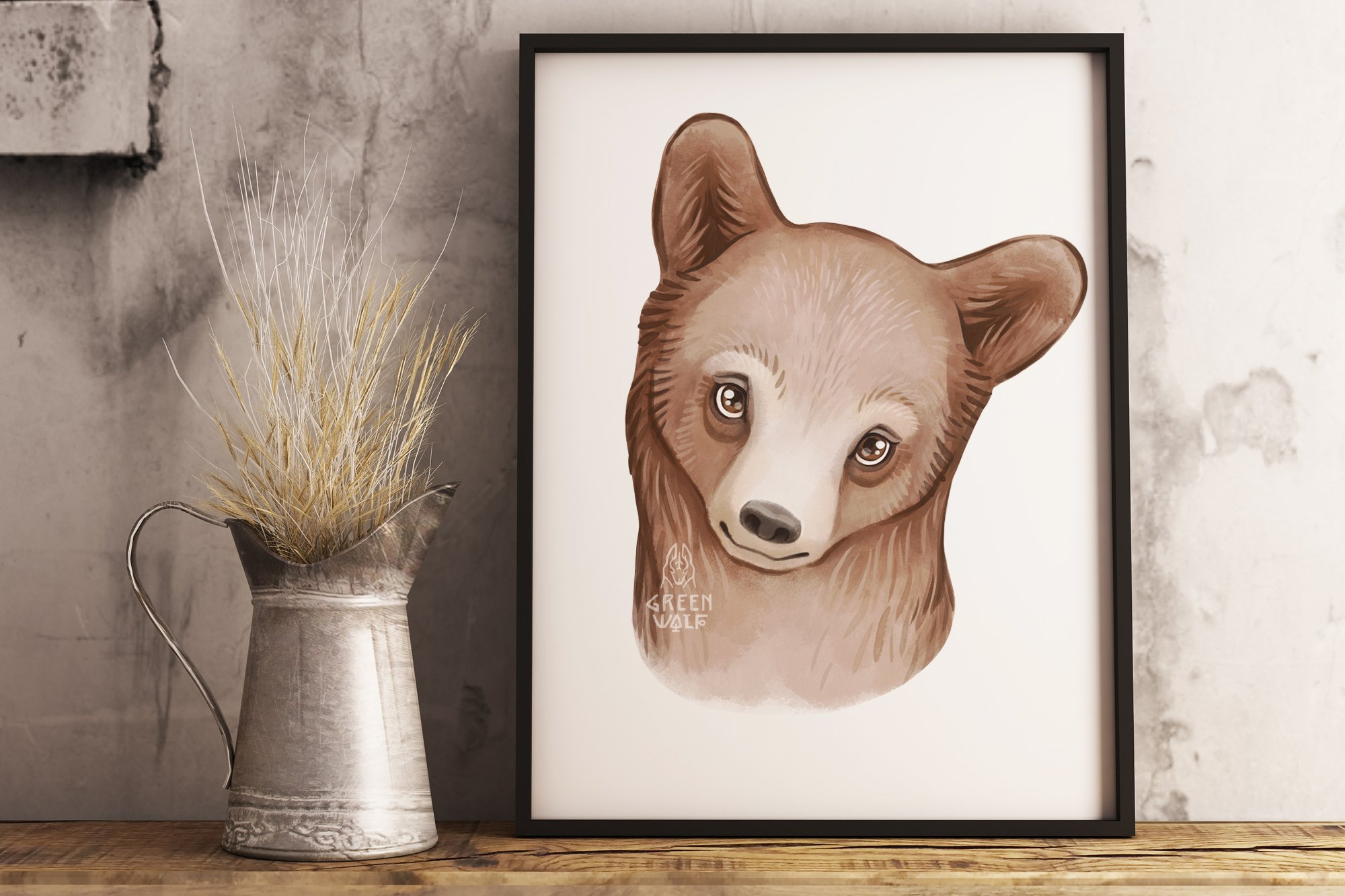Grizzly bear watercolor illustration Woodland nursery decor example image 4