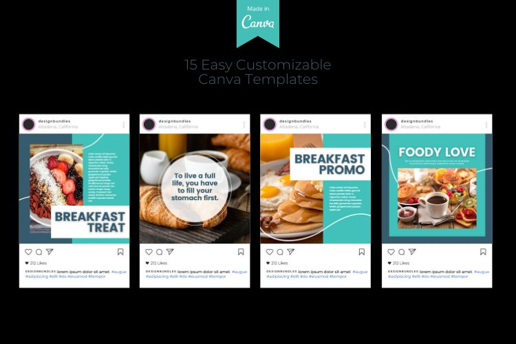 Foody 15 Instagram Square Canva Templates example image 2